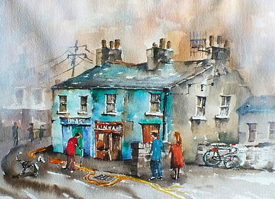 Clare Painting - Blakes Corner Ennistymon Clare by Val Byrne