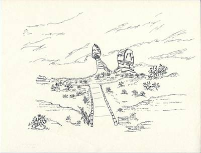 Walkway Drawing - Blancing Rock by Carolann Van de Ligt