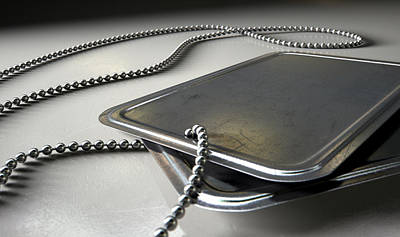 Blank Identity Dog Tags Dramatic Print by Allan Swart