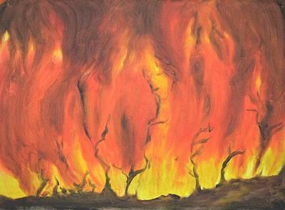India Painting - Blazing Fire by Usha Shantharam