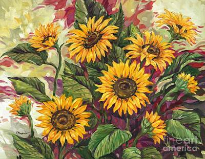 Sunflower Field Painting - Blazing Sunflowers by Paul Brent