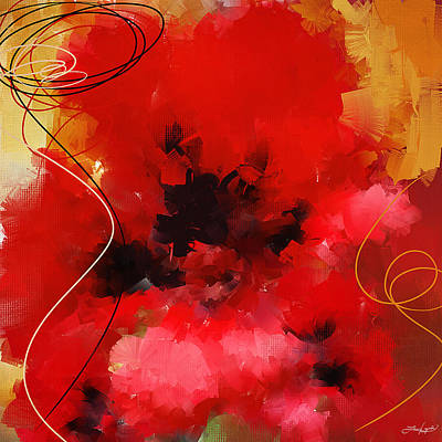 Red Abstract Digital Art - Blazingly Poppies by Lourry Legarde