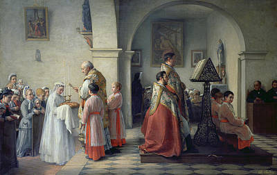 Blessings Painting - Blessing The Bread by Francois Archange Bodin