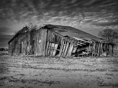 Blighted Barn 001 Bw Print by Lance Vaughn