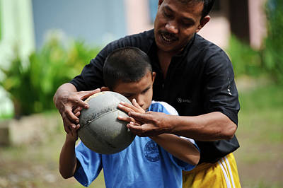 Disabled Sports Photograph - Blind Boy With Football by Matthew Oldfield