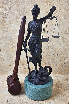 Blind Justice Statue With Gavel Print by Garry Gay
