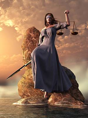 Trial Digital Art - Blind Justice With Scales And Sword by Daniel Eskridge