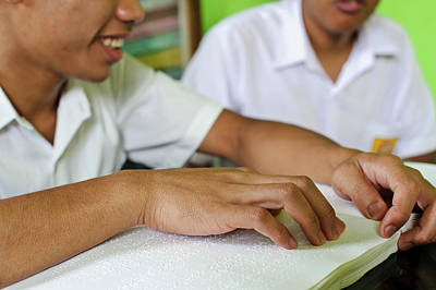Blind Students Reading Braille Print by Matthew Oldfield