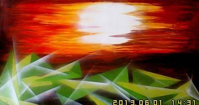 Oceq Painting - Bling Sunset by Oke Masdiananta