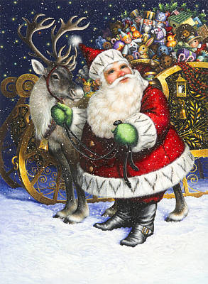 Santa Claus Painting - Blitzen by Lynn Bywaters
