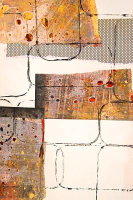 Handmade Paper Mixed Media - Blocks Abstract Mixed Media Collage by Nancy Merkle