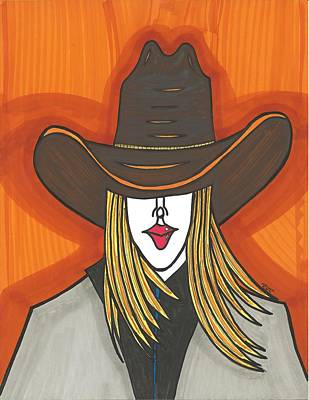 Cowgirl Mixed Media - Blonde Cowgirl by Ray Ratzlaff