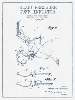 Blood Pressure Cuff Patent From 1970 - Blue Ink Print by Aged Pixel