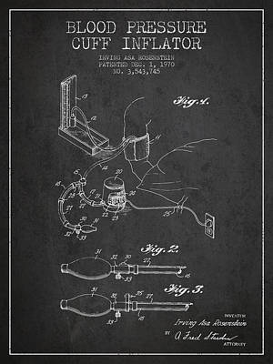 Blood Pressure Cuff Patent From 1970 - Dark Print by Aged Pixel