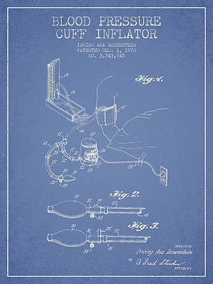 Blood Pressure Cuff Patent From 1970 - Light Blue Print by Aged Pixel
