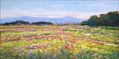 Tuscan Sunset Painting - Bloomed Field - Italy by Biagio Chiesi