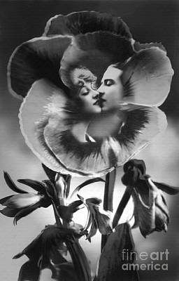 Reproduction Photograph - Bloomin' Kiss Vintage Art Bw by Lesa Fine