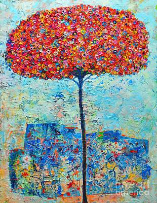 Blooming Beyond Known Skies - The Tree Of Life - Abstract Contemporary Original Oil Painting Original by Ana Maria Edulescu