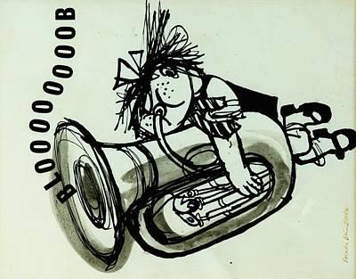 Trombone Photograph - Blooooob! Ink On Paper by Brenda Brin Booker