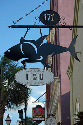 Metal Fish Art Photograph - Blossom Courtyard Dining by Suzanne Gaff