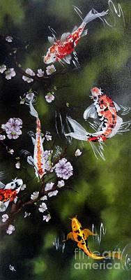 Blossoms And Koi Print by Carol Avants