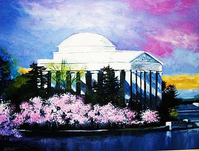 Jefferson Memorial Painting - Blossoms At The Jefferson Memorial by Al Brown