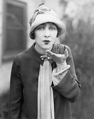 One Woman Only Photograph - Blowing A Kiss by Underwood Archives