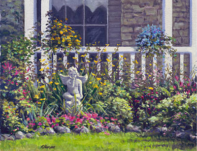 Garden Scene Painting - Blowing Kisses In The Garden by Rick Hansen