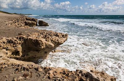 Blowing Rocks Beach Looking North Jupiter Island Florida Print by Michelle Wiarda