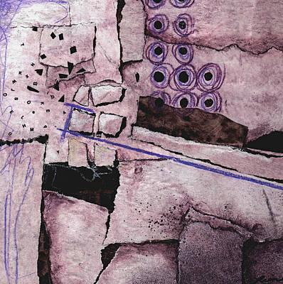 Abstract Collage Mixed Media - Blowout With Purple by Laura  Lein-Svencner
