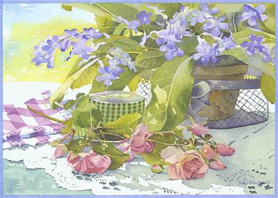 Blu Cape Primroses Print by Julia Rowntree