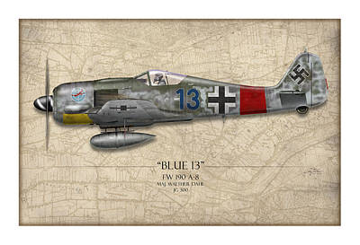 13 Painting - Blue 13 Focke-wulf Fw 190 - Map Background by Craig Tinder