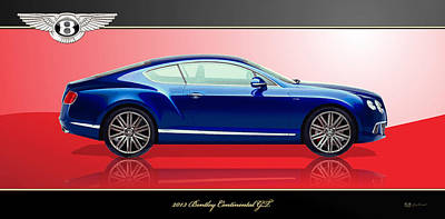 Bentley Digital Art - Blue 2013 Bentley Continental Gt With 3d Badge  by Serge Averbukh
