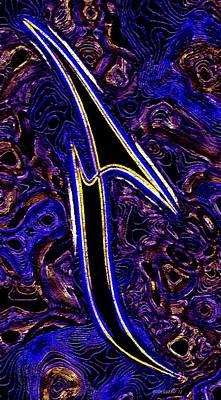 Vertical Digital Art - Blue Abstract Art by Mario Perez