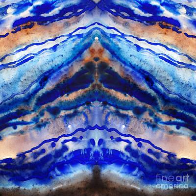 Semi-precious Painting - Blue Agate Abstract I by Irina Sztukowski