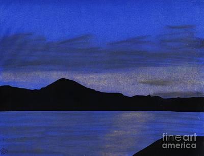 Sunset Drawing - Blue - Alaska - Sunset by D Hackett