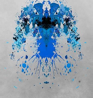 Aliens Mixed Media - Blue Alien by Dan Sproul