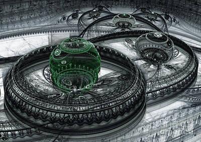 Abstract Digital Digital Art - Dark Alien Landscape by Martin Capek
