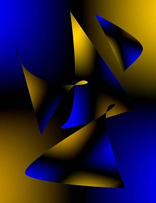 Fantasy Digital Art - Blue And Brown Abstract Design by Mario Perez