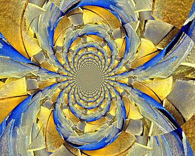 Blue And Gold Print by Marty Koch