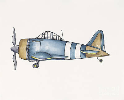 Blue And Gold Plane - One Original by Annie Laurie