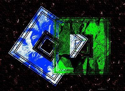 Horizontal Digital Art - Blue And Green Combination by Mario Perez