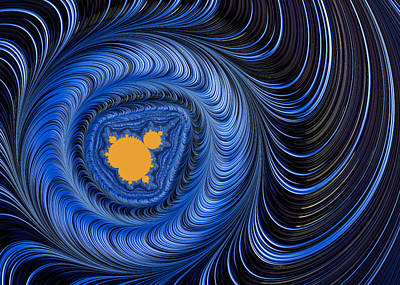 Fraktal Digital Art - Blue And Orange Abstract Mandelbrot Fractal Art by Matthias Hauser