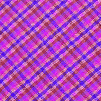Blue And Pink Plaid Design Fabric Background Print by Keith Webber Jr