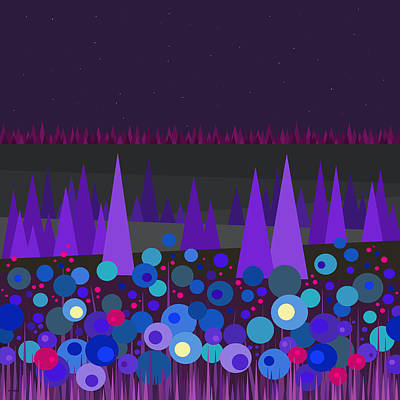Blooming Digital Art - Blue And Purple - Night Blooming Flowers - Starry Sky by Val Arie