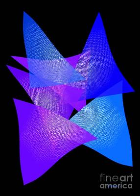 Geometry Digital Art - Blue And Purple Triangles by Mario Perez