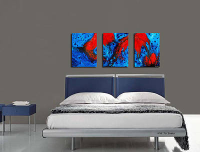 Blue And Red Painting - Blue And Red Abstract Hung As A Triptych by Sharon Cummings