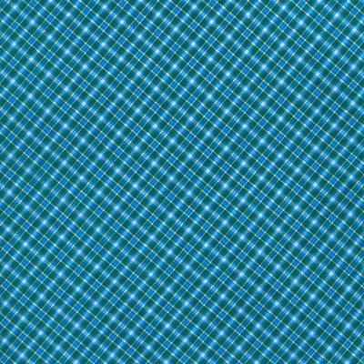 Blue And Teal Diagonal Plaid Pattern Textile Background Print by Keith Webber Jr