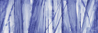 Abstract Artwork Painting - Blue And White Abstract Panoramic Painting by Beverly Brown