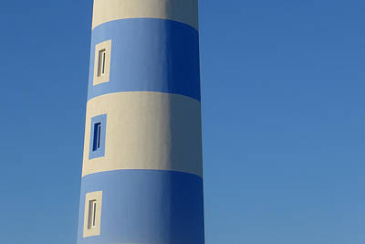 Blue Abstract Photograph - Blue And White Lighthouse Abstract by Patrick Dinneen